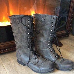 Madden Girl Grey Combat Boots